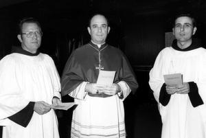 L to R: Friar Basil Westendick, Archbishop Joseph Bernardin, and Fr. Joe Rigali