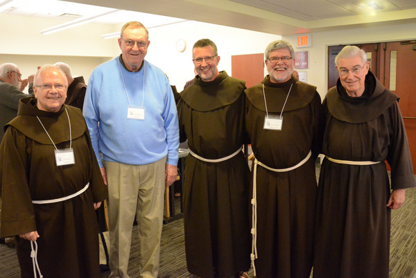 Newly elected Provincial Minister Fr. Mark Soehner (center) is flanked by former Provincials Fr. Fred Link, Fr. John Bok, Fr. Jeff Scheeler, and Fr. Jeremy Harrington