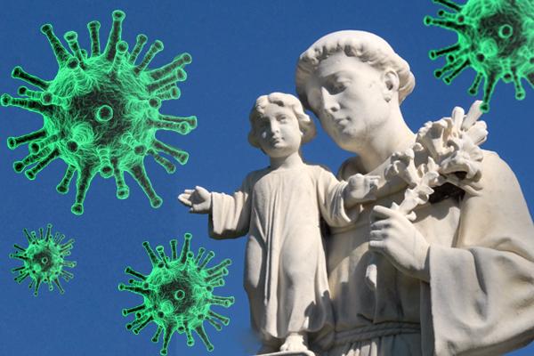 St. Anthony statue with large coronavirus'