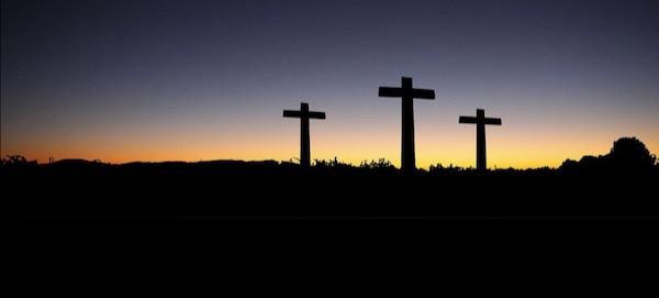 sunrise and 3 crosses