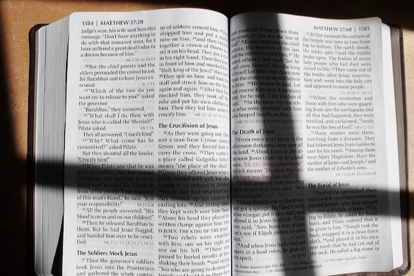 cross shadow on Bible