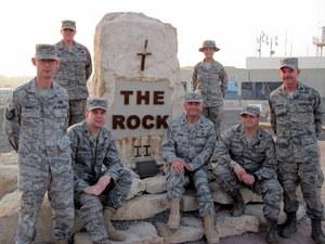 Fr. Bob Bruno, OFM, (center) during a deployment in Kuwait in 2010