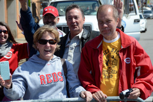 Barb Coyle and Jeff at this year's Opening Day Parade with staff from Franciscan Media