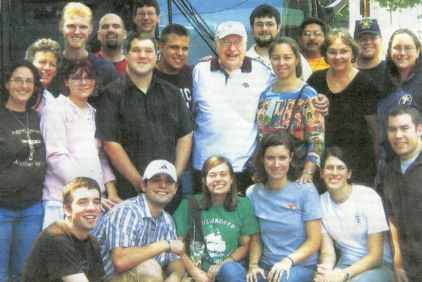 Fr. Curt Lanzrath, OFM, with students from Texas A & M on a bus pilgrimage to help him move back to Cincinnati in 2007.