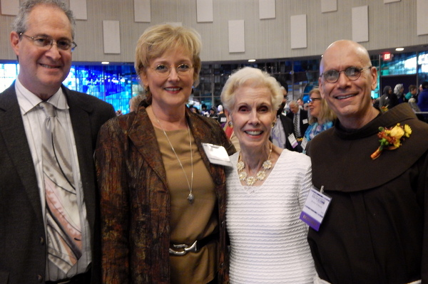 Br. Al Mascia, OFM (right) with his mother Mary and co-founders of Song and Spirit Institute for Peace Steve Klaper and Mary Gilhuly