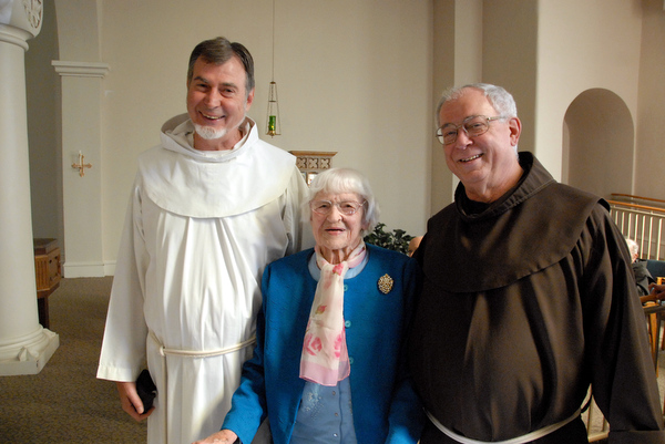 Fr. Carl at St. Anthony Shrine with his mother Florence, and brother Max, also a Franciscan friar.