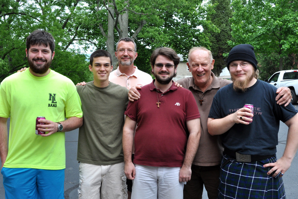 The postulants and their directors celebrate graduation.  L - R: Carlo Shivel, John Boissy, Fr. Mark Soehner, OFM, Thomas Murphy, Fr. Frank Geers, OFM, and Jonathon Douglas.