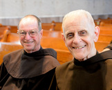 Br. Marcel, 84, right, and Br. Gabriel, 84, during a break at Chapter.