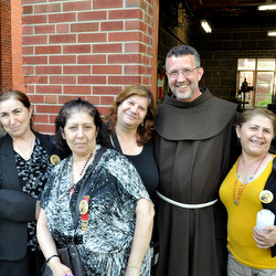 Fr. Mark Soehner, OFM, with pilgrims