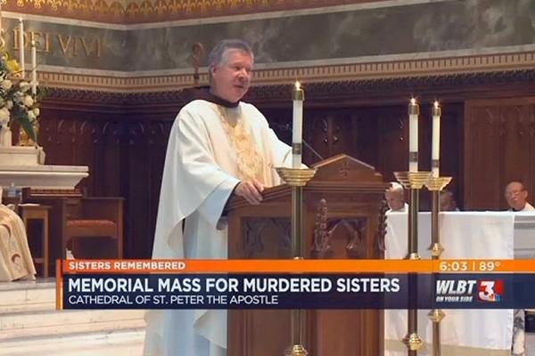 Fr. Greg Plata, OFM, at the Memorial Mass for the slain Srs. Paula Merrill and Margaret Held