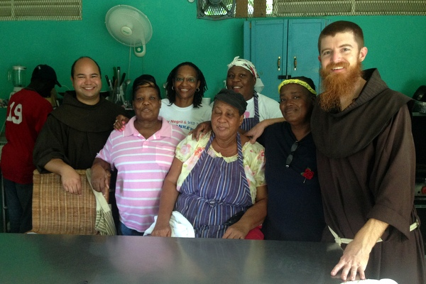 Fr. Richard and Br. Roger with Ms. Pearl and the staff of St. Anthony's Kitchen in Negril, Jamaica