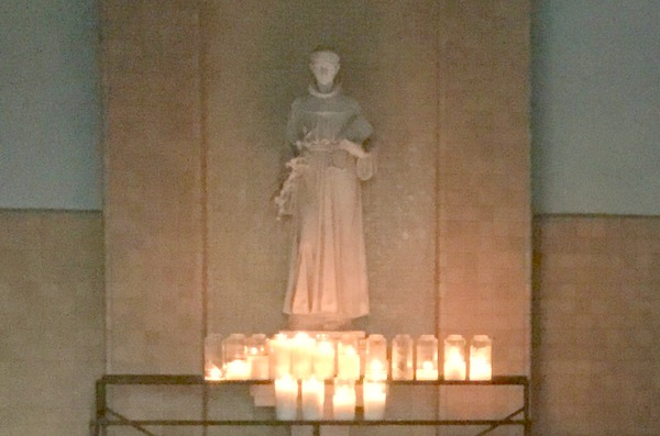 St. Anthony statue and candles
