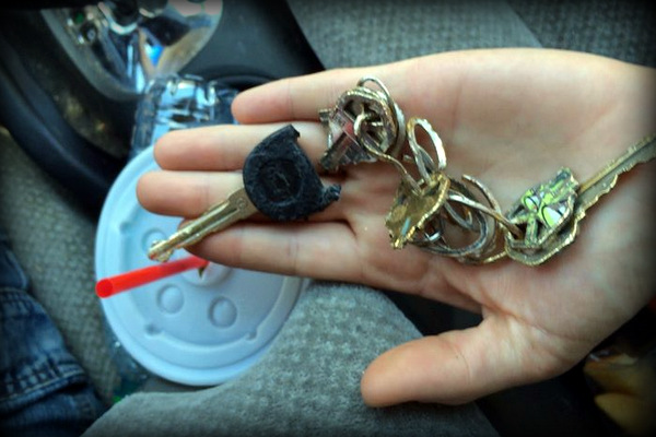 All the keys were destroyed except for the important car key.