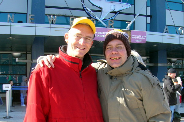 """Fr. Jim and Jeff outside the Newport Aquarium in 2007 for the """"Jumping for Jeff"""" Polar Bear Plunge organized to honor Jeff and raise money for Special Olympics"""