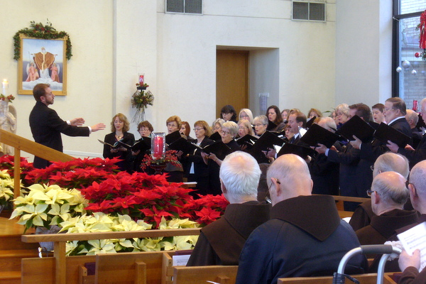 The Cincinnati May Festival Chorus sings at the funeral Mass of Br. Bob Lucero, OFM.    Br. Bob sang in the choir for 43 years.