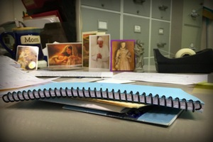 St Anthony index cards on desk