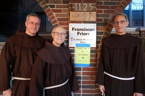 Friars Alex Kratz, Maynard Tetreault, and Louie Zant at St. Moses the Black friary in Detroit