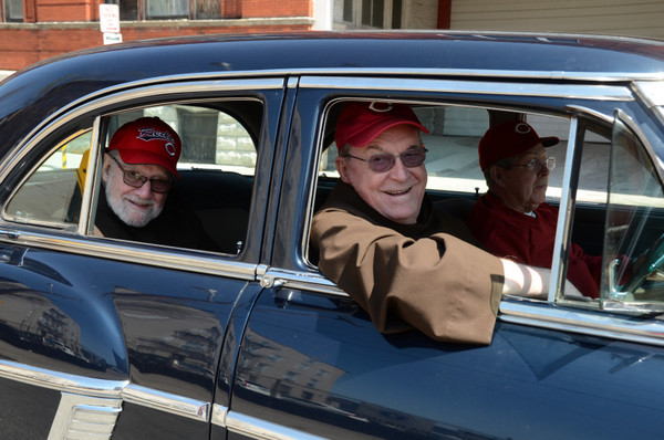 Fr. Tom Speier and Fr. John Bok enjoy a sweet ride thanks to our friend Roger Pierson and his 1954 Packard