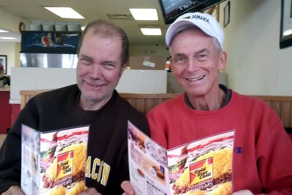 While on home leave from Negril, Jamaica, Fr. Jim Bok, OFM, always eats at Gold Star Chili with Jeff Rapking