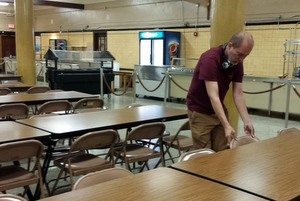 Jeff makes sure the cafeteria runs smoothly