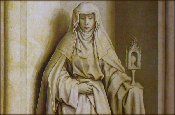 painting of statue of St Clare