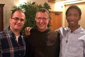 Br. Matt with Provincial Minister Fr. Mark Soehner and fellow Novitiate, Br. Raphail Ozounde.