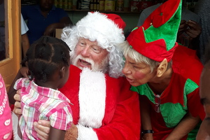 girl with Santa and Elf