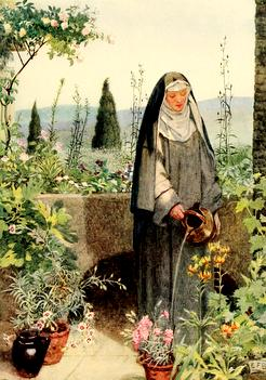 painting of St. CLare watering plants in her garden