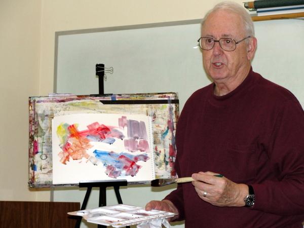 Fr. Jim Van Vurst, OFM, teaching a painting workshop