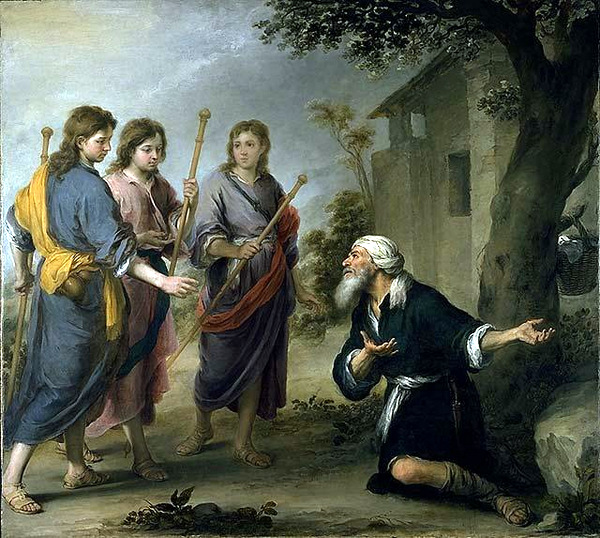 Abraham Receiving the Three Angels by Bartolome Esteban Murillo (1667) Public domain