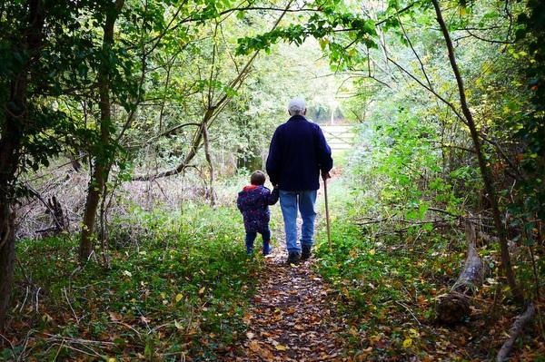 grandpa and grandson in woods