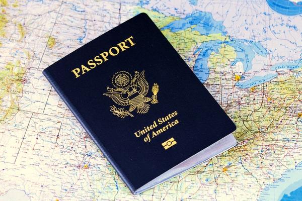 passport on map of USA