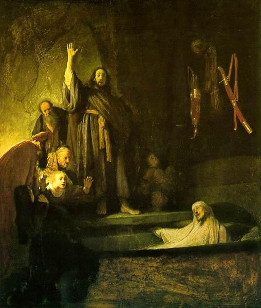 The Raising of Lazarus by Rembrandt (1630) Public Domain